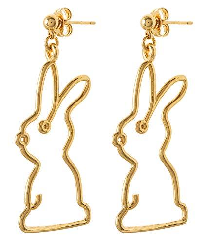 Malaika Raiss - Orecchini da donna in oro a forma di coniglio, taglio 3D, placcati in oro 24 carati, lucido - E3233