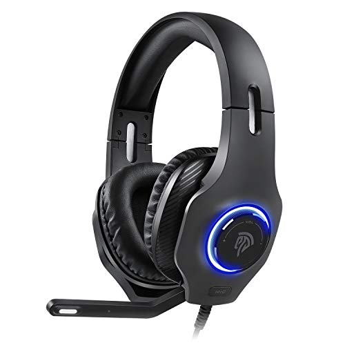 Auriculares Gaming Estéreo 7.1 PS5, [Regalos] Cascos Gaming 7.1 para PS5, PS4/Pro Xbos One, Xbox One, PSP, PC, Tablet etc. Cascos PS5 con Orejera Suave, Micrófono Ajustable, LED RGB y Silenciamiento