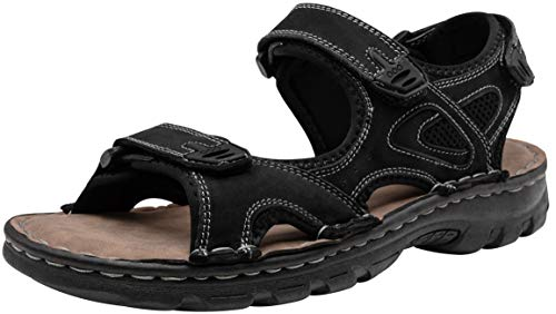 JOUSEN Men's Sandals Outdoor Open Toe Water Beach Sandal Leather Sport Sandal (13,Black)