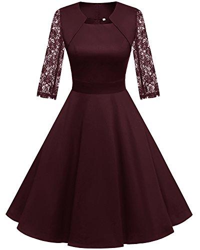 HomRain Damen 50er Vintage Retro Kleid Party Langarm Rockabilly Cocktail Abendkleider Burgundy-1 XL