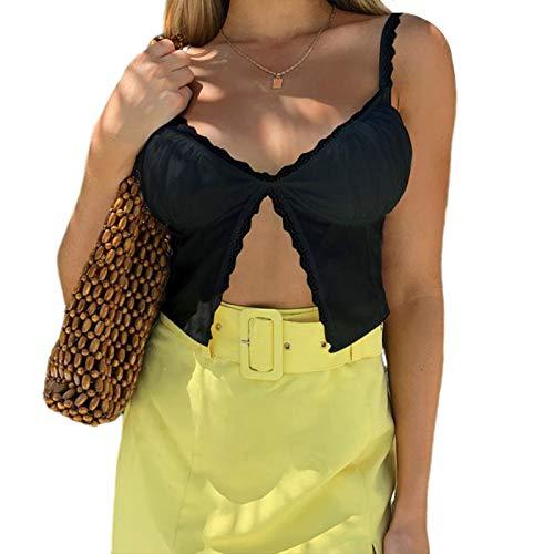 Onavy recortar las mujeres tapa de la manera del cordón atractivo de ver a través de la correa de la camiseta sin mangas de e-girl cami top y2k(negro encaje,s)
