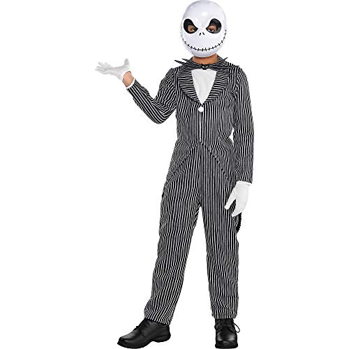 Party City Jack Skellington Halloween Costume for Boys, The Nightmare Before Christmas, Medium (8-10), Includes Mask