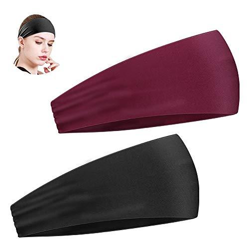E-More Sport Stirnbänder für Herren und Damen 2 Packs - Schweißband & Sport Stirnband Feuchtigkeitstransport Workout Schweißbänder für Laufen, Cross Training, Yoga und Fahrradhelm