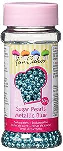 FunCakes Perlas de Azúcar de 4mm Azul Metálico: Sprinkles para Tartas, Gran Sabor, Perfecto para Decorar Tartas, Cientos y Miles de Sprinkles. 80 g