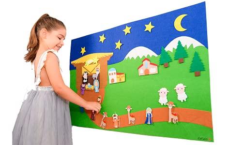 DeFieltro Portal de Belen de Fieltro Gigante - Nacimiento Educativo para Niños - Pesebre del Niño Jesus - Belén Decorativo de Navidad Medidas 90x60 CM