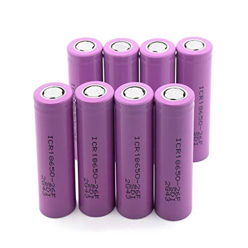 Batería de iones de litio de 3,7 V 2600 mAh ICR 18650 26 F, batería de repuesto con 2 lengüetas para radio para proyector 4 unidades