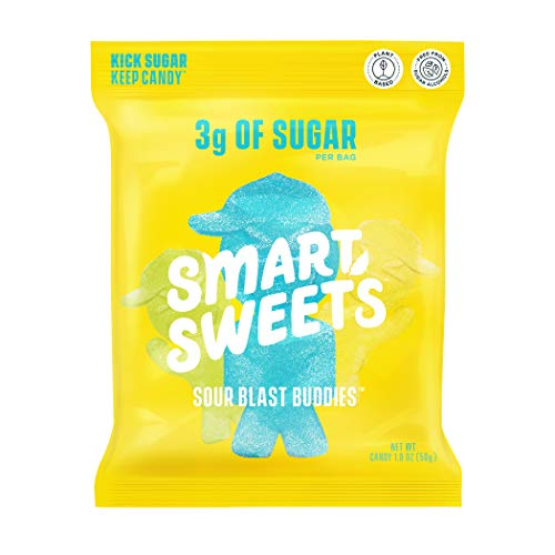 SmartSweets Sour Blast Buddies, Candy with Low Sugar (3g), Low Calorie, Plant-Based, Free From Sugar Alcohols, No Artificial Colors or Sweeteners, 1.8 oz. (Pack of 12)