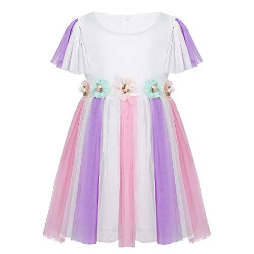 iixpin Bébé Fille Princesse Robe à Fleur Chic Robe sans Manche Casual Robe de Fête Anniversaire Robe de Plage Eté Tulle Robe Enfant 6 Mois-5 Ans Lavender 2-3 Ans