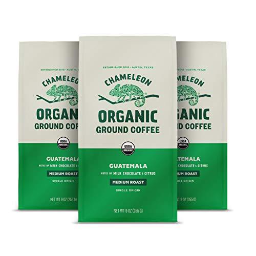 Chameleon Organic Ground Coffee, Medium Roast Guatemala, 100% Arabica, 9 Oz, 3 Pack