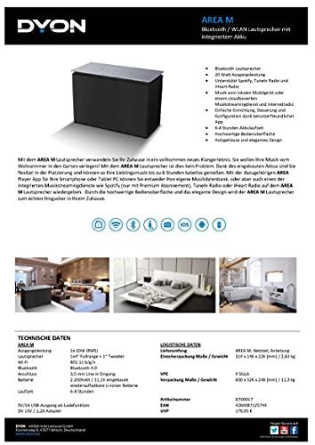 DYON Area M Multiroom Lautsprecher Sound System, Apple iOS/Android App, Spotify, tuneIn Radio, Internetradio, 20W, M schwarz