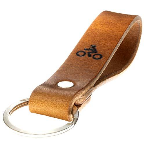 LIEBHARDT nachhaltig Geschenk aus pflanzlich gegerbtem Leder Schlüsselanhänger mit Spruch für deinen Lieblingsmensch ob Frau oder Mann Handmade in Germany (Motorrad - Symbol)