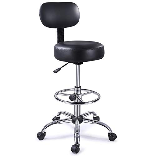 Superjare Drafting Chair with Back, Adjustable Foot Rest Swivel Stool, Multi-Purpose Office Desk Chair, Thick Seat Cushion for Home Bar Kitchen Shop - Black