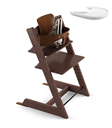Stokke Adjustable Ergonomic Tripp Trapp High Chair with Baby Set - White & Tripp Trapp Tray - White