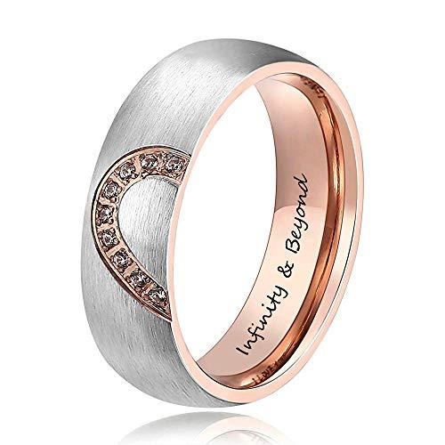 Lam Hub Fong Personalisierte Herren und Damen Versprechen Ringe Set für Paare Edelstahl Verlobung Eheringe Band Set für ihren Valentinstag Schmuck (Frauen)