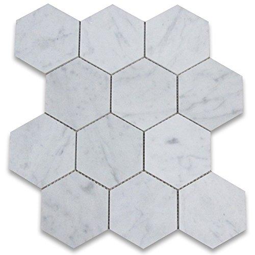 Carrara White Italian Carrera Marble Hexagon Mosaic Tile 4 inch Honed