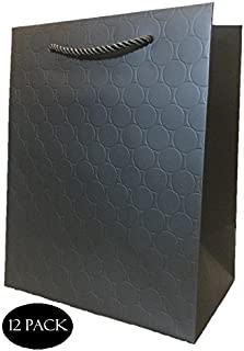 Black Matte Gift Bags Bundle - Medium -Wedding, Cute Birthday or Retail Shopping 8