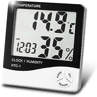 Termômetro Digital E Higrômetro Para Medição De Umidade Do Ar Com Relógio Digital