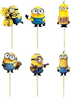 Cupcake Toppers - 24pcs cartoon minioan cupcake toppers baby shower kids birthday wedding decoration supplies cake flag despicable me banana