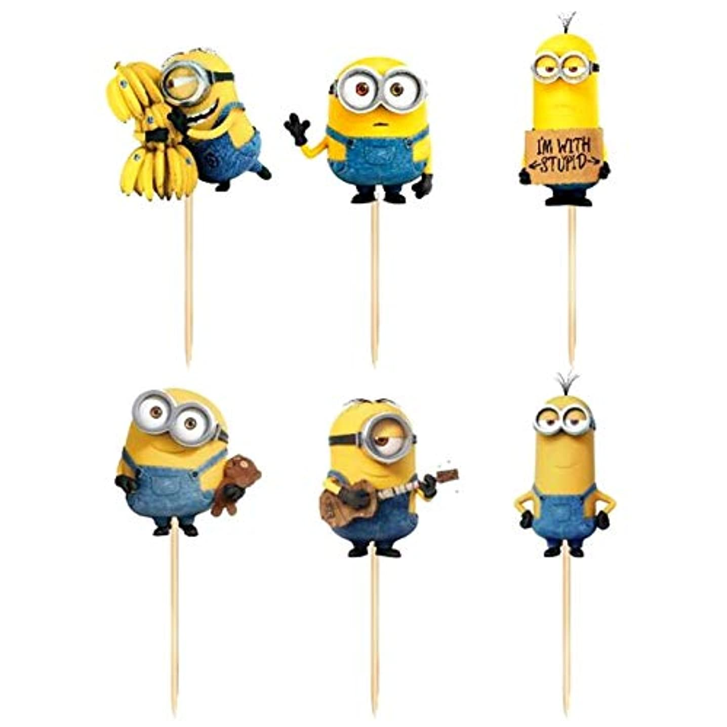 Cupcake Toppers - 24pcs cartoon minions cupcake toppers baby shower kids birthday wedding decoration supplies cake flag despicable me banana