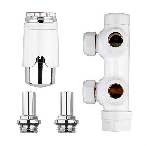 S SIENOC H-Ventil Weiß Anschlussgarnitur Mittelanschluss/Radiator Valves Thermostat Für Badheizkörper Mit Zweirohr System Heizkörper Mittelanschluß Für15mmKupferrohr
