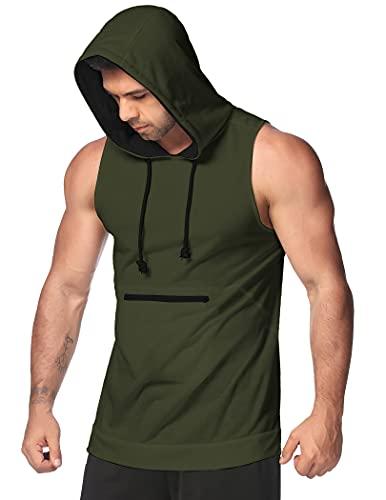 COOFANDY Men's Workout Hooded Tank Tops Sleeveless Bodybuilding Muscle Cut Off T Shirt Zipper Pocket Gym Hoodies Army Green