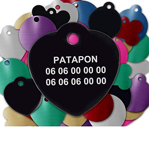 Gravure Concept Médaille pour Chien Et Chat À Personnaliser – Médaillon Gravé 31 mm - 1 à 3 Lignes – 8 Couleurs Disponibles (Noir, Coeur)