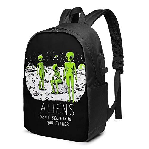 Hdadwy Aliens Don't Believe in You Either USB Backpack 17 Inch Shoulder Bag Laptop Bag Fashion Rucksack