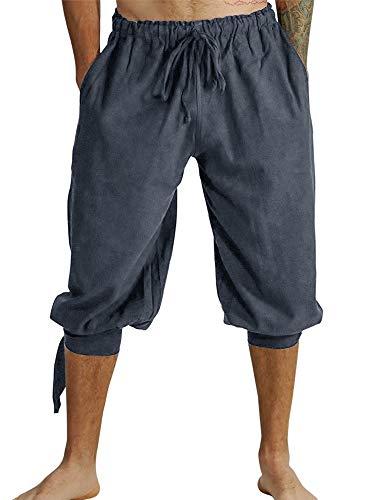 Herren Kurz Hose Pluderhose Mit Schnürung Sommer Hose Wikinger Pirat Mittelalter Vintage Kostüm Casual Freizeit Hose Strand Shorts für Männer, A-Grau, XXL