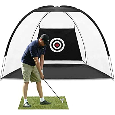 MEARTEVE Outdoor Golf Practice Net,Large Open Size 10 x 6 x 6.5 ft Golf Chipping Net Training Aids Golf Hitting Nets for Backyard Indoor or Outdoor, Testing Range, Swing and Clubs Improving