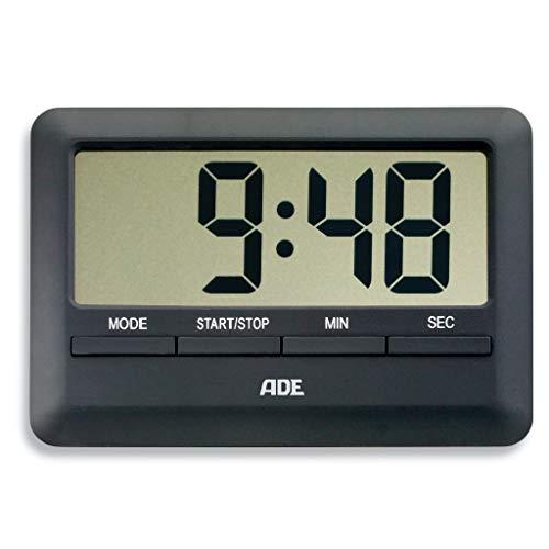 ADE Digitaler Küchentimer TD 1601 Kurzzeitmesser (Küchen-Wecker mit Timer Küchenuhr Stoppuhr inklusive Uhrzeit, Wecker, Magnet-Aufhängung, LCD-Display) schwarz