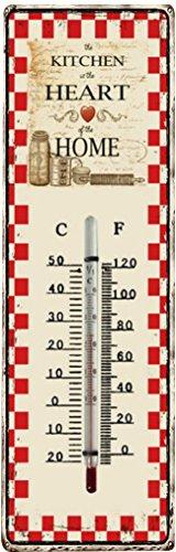 TronicXL Vintage Retro Design Metall Schild Thermometer Wand Deko Designer Wandthermometer Wanddeko Metallschild Kitchen Heart of The Home Herz Liebe rot Küchendeko Geschenk Idee Geschenkidee
