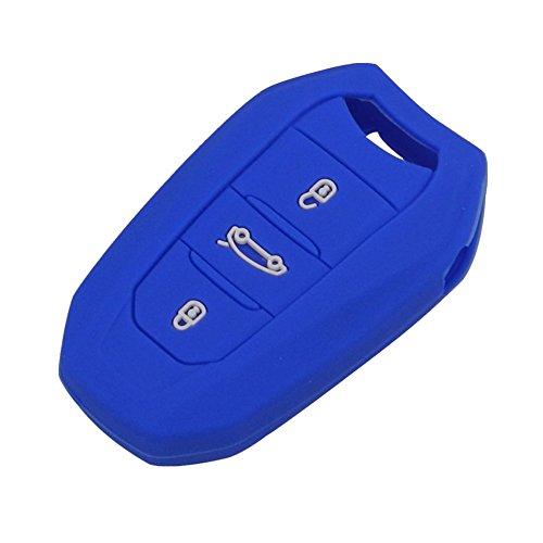 Happyit Siliconen autosleutelhoesje voor Peugeot 301 308 408 508 2008 3085 3008 307 206 3 knoppen afstandsbediening Blauw