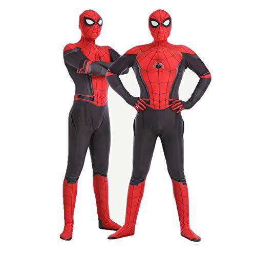 Leezeshaw Disfraz de superhéroe Spiderman unisex para adultos y niños de licra y licra Zentai Spider Verse Miles Morales Mono de Halloween Disfraces de Cosplay