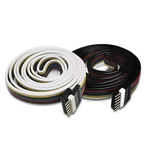 GIDERWEL Verlängerungskabel für Philips Hue Lightstrip Plus und alle Standard 6Pin RGBWW RGBCCT LED Streifen,6 Polige LED Verbinder 12 mm lötfreier Anschluss LED-Anschluss(1m,2Pack)