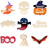 Gxhong 45 Piezas Colgantes de Madera para Halloween, Murciélagos/ Bruja/ Calabaza/ Arañas/ Calaveras Colgante de Madera, Ornamentos de Halloween, Halloween Adornos Colgantes de Madera