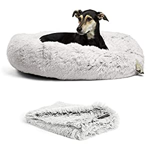 Best Friends by Sheri Bundle Savings – The Original Calming Shag Donut Cuddler Dog Bed in Large 36″x 36″ and Pet Throw Blanket in 40″ x 50″, Frost