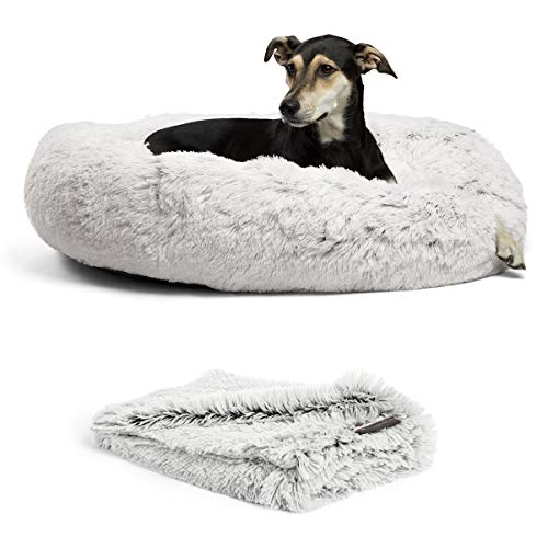 """Best Friends by Sheri Bundle Savings - The Original Calming Shag Donut Cuddler Dog Bed in Large 36"""" x 36"""" and Pet Throw Blanket in 40"""" x 50"""", Frost."""
