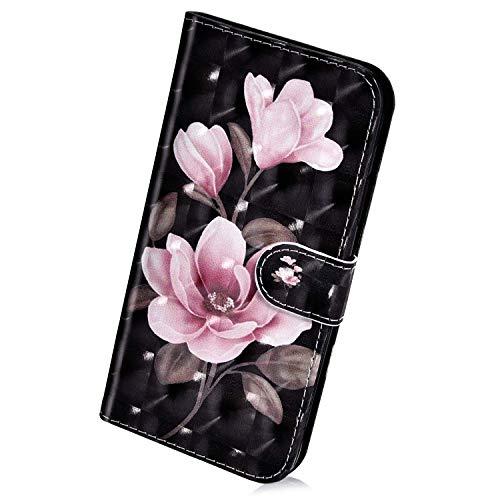 Herbests Kompatibel mit Samsung Galaxy A8 Plus 2018 Handyhülle Hülle Flip Hülle Bunt Glitzer Muster Leder Schutzhülle Klappbar Bookstyle Lederhülle Ledertasche mit Magnet Kartenfach,Rose Blumen