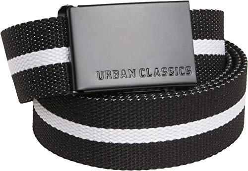 Urban Classics Canvas Belt Cintura con Fibbia Scorrevole in Metallo, Regolabile, 100% Poliestere, Lunghezza 118 cm, nero bianco stripe/nero, taglia unica Unisex