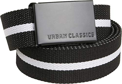 Urban Classics Unisex Canvas Belts Gürtel, Black White Stripe/Black, one Size