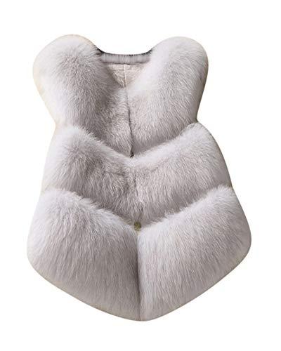 Kasen Donna Cappotto Giacca Senza Maniche Gilet Pelliccia Artificiale Lanuginoso Outwear Bianco M