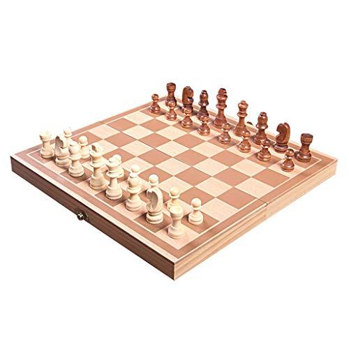 GLXLSBZ Schach-Set aus massivem Holz, hochwertig, 19,2 x 29,6 cm, internationales Schachspiel, tragbar, faltbar, Schach