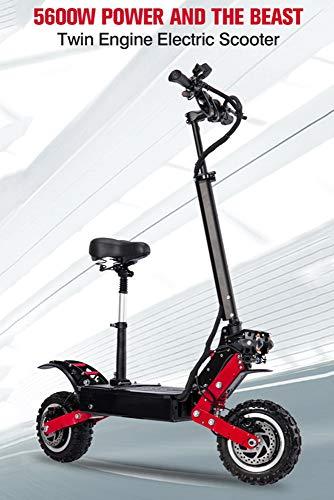 electric bicycle Elektroroller Erwachsener 5600W Motor Höchstgeschwindigkeit 85 Km/H Doppelantrieb 11 Zoll Offroad-Reifen Klapproller Mit Sitz Und 60V Batterie,60V28.6Ah