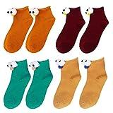 CACAZI 4 Pares Mujer Calcetines De Ojos 3d Creativo Gracioso Medias De Algodón Dibujos Animados Botas Calcetines Calcetines Lindos