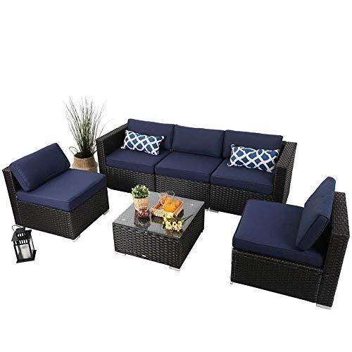 PHI VILLA Outdoor Rattan Sectional Sofa- Patio Wicker Furniture Set (6-Piece 2)