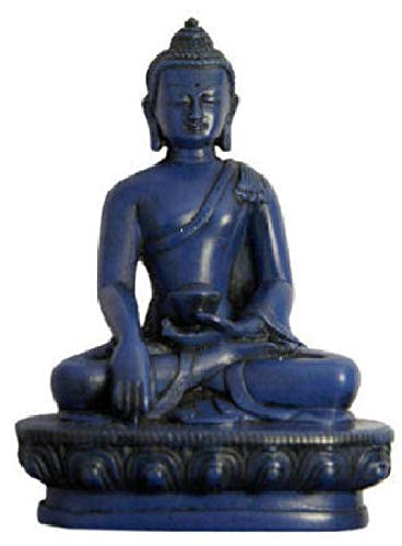 Blue Lapis Earth Touching Buddha Statue for Meditation, Alter and Peace and Prosperity