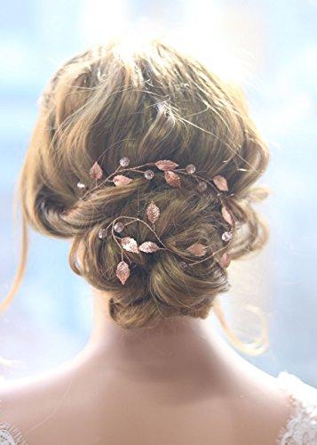 Gracewedding - diadema de pelo largo para novia - color oro rosa - est