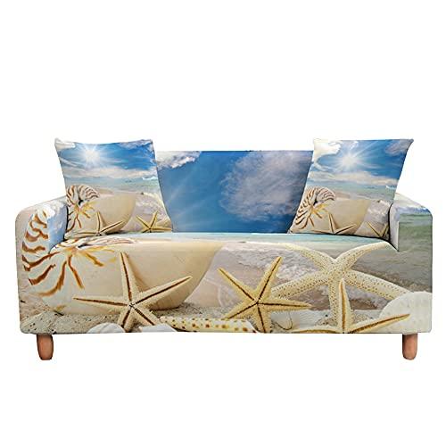 Highdi 3D Oceano Funda de Sofá Elástica, Fundas para Sofá de 1/2/3/4 Plazas, Universal Funda Cubre Sofas Ajustables Protector Cubierta de Muebles (Conchas de Playa,3 plazas)