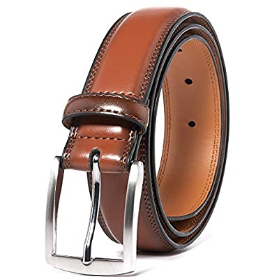Men's Leather Dress Belt Silver Single Prong Buckle Belts for Men Jeans Khakis Dress Outfits (1015 Brown, 36)