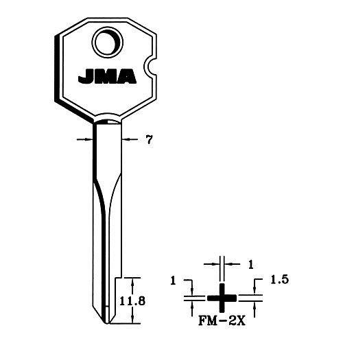 JMA–Schlüssel Sicherheit in Kreuz Stahl Modell FM2X (10UDS)